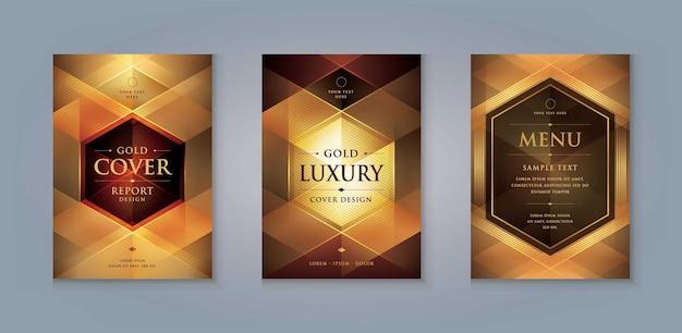 Elegant gouden brochureomslagontwerpsjabloon luxe zakelijke uitnodigingskaartsjabloonontwerp
