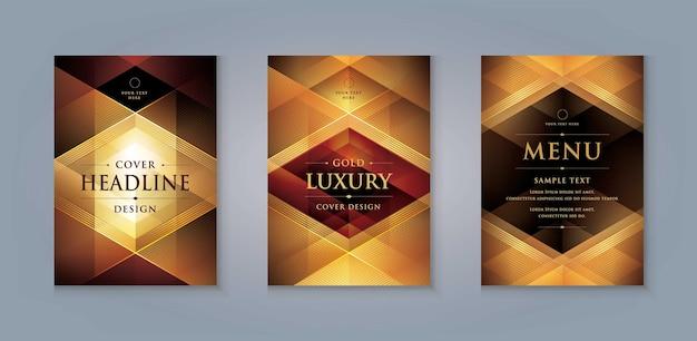 Elegant gouden menu omslagontwerp luxe uitnodigingskaartsjabloon abstracte gouden geometrische driehoek