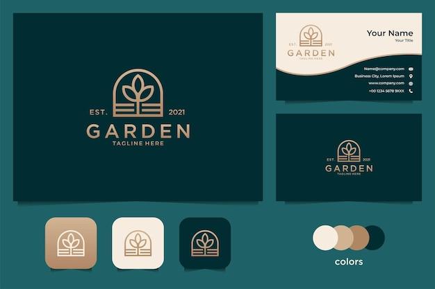 Elegant gouden natuurlogo-ontwerp en visitekaartjesjabloon