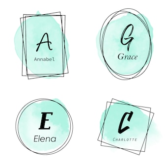 Elegant groen aquarel frame logo met initiaal