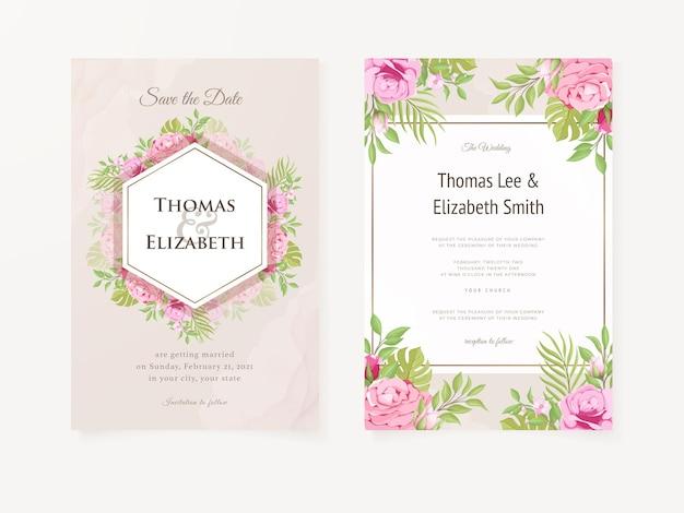 Elegant hand tekenen bruiloft uitnodiging bloemdessin