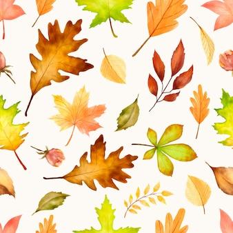 Elegant herfst naadloze patroon met verschillende herfstbladeren.