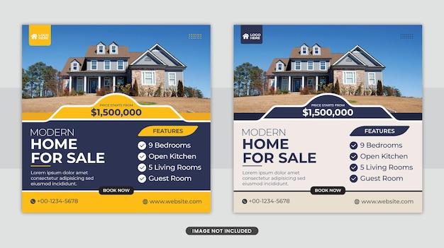 Elegant huis te koop sociale media facebook post banner of vierkante flyer sjabloonontwerp