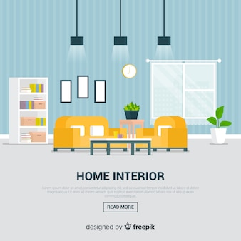 Elegant huisbinnenland met vlak ontwerp