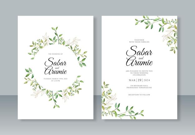 Elegant huwelijksuitnodigingsjabloon met gebladerte aquarelverf