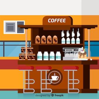 Elegant koffiewinkelbinnenland met vlak ontwerp