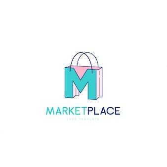 Elegant letter m-symbool, marktplaats logo concept