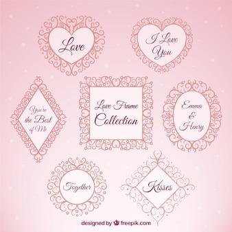 Elegant liefde geplaatste frames