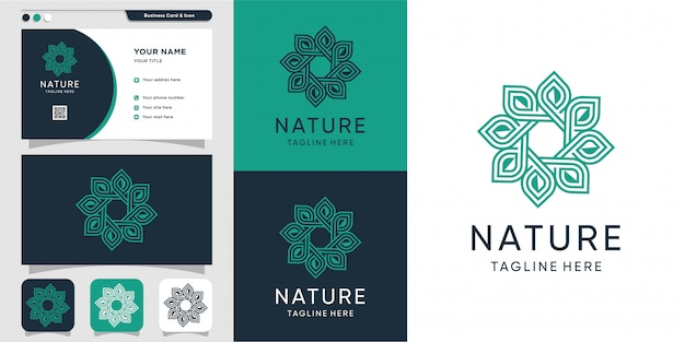 Elegant logo met lijntekeningen en minimalistisch logo en sjabloon voor visitekaartjes
