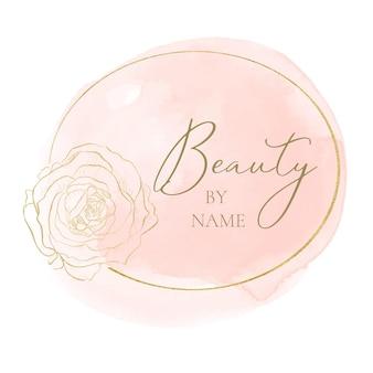 Elegant logo-ontwerp met vrouwelijk thema in roze en goud