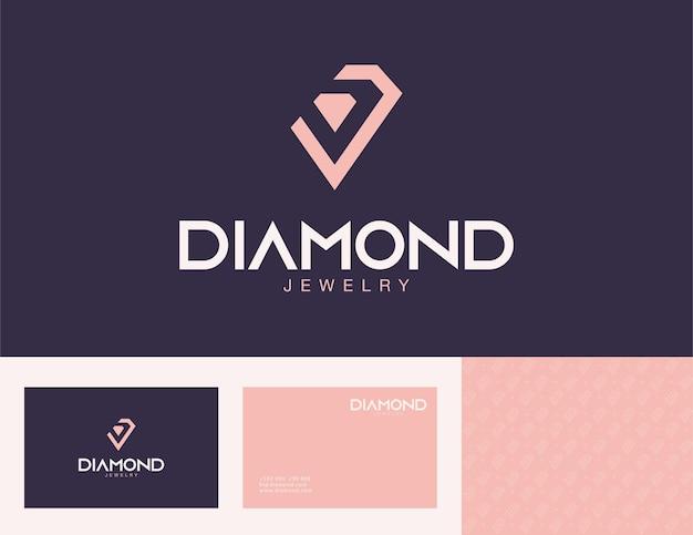 Elegant logo voor gouden sieraden met visitekaartjeontwerp