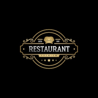 Elegant luxe vintage embleem badge label restaurant logo ontwerp