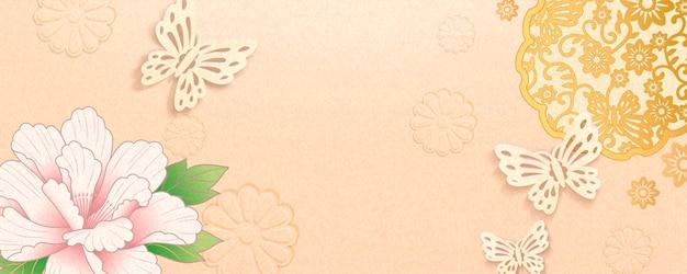 Elegant maanjaarbannerontwerp met pioenroos en vlindersdecoratie