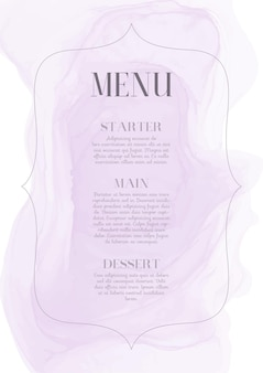 Elegant menuontwerp met handgeschilderd waterverfontwerp