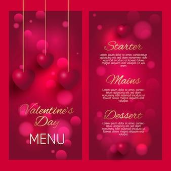 Elegant menuontwerp voor valentijnsdag