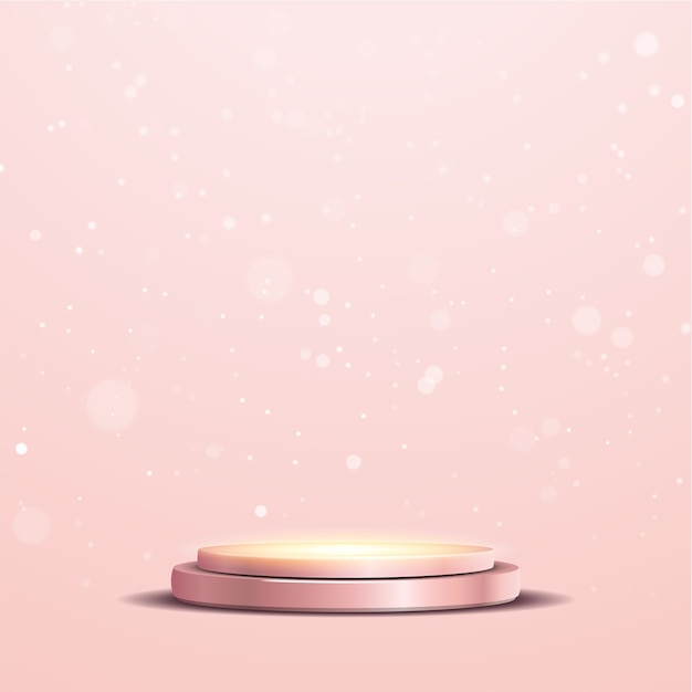 Elegant metallic roze gouden podium met een schijnwerper en bokeh lichten