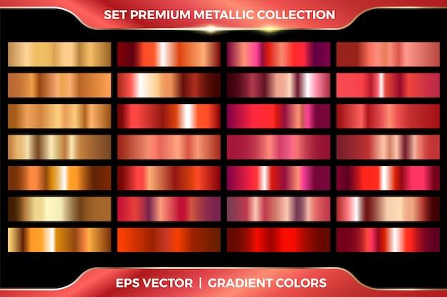 Elegant metallic verloop. glanzende gouden folie, rood bronzen medailles verlopen. roze koperen metalen collectie. Premium Vector