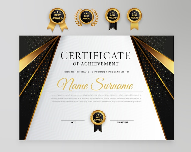 Elegant modern certificate award diploma met bagdesjabloon