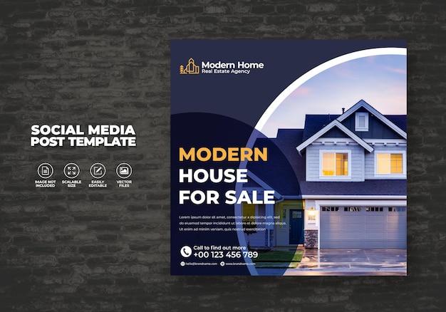 Elegant modern droomhuis woning te huur verkoop onroerend goed campagne social media post sjabloon Premium Vector