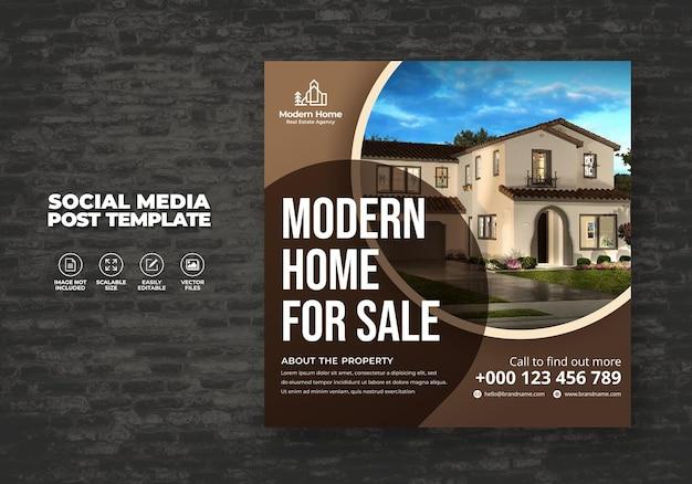 Elegant modern droomhuis woning te huur verkoop onroerend goed social media post gratis sjabloon