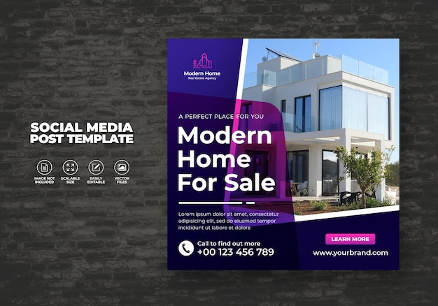 Elegant modern droomhuis woning te huur verkoop onroerend goed social media post sjabloon