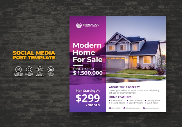 Elegant modern huis onroerend goed sociale media post sjabloon