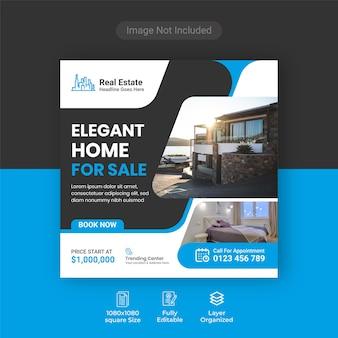 Elegant modern onroerend goed huis te koop banner voor sociale media