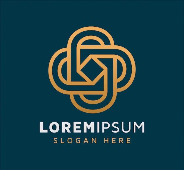 Elegant monoline vierkant logo ontwerp