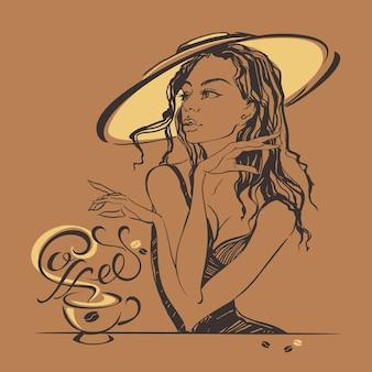 Elegant mooi meisje in een hoed die koffie drinkt.