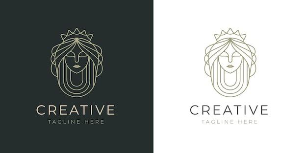 Elegant, mooi queen line-logo-ontwerp