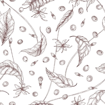 Elegant naadloos patroon met koffie- of koffieboombloemen, bladeren en rijp fruit of bessen met de hand getekend met contourlijnen