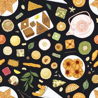 Elegant naadloos patroon met oosterse desserts op platen op zwarte achtergrond. achtergrond met traditionele zoete maaltijden, lekker gebak, heerlijk gebak. hand getekend realistische vectorillustratie.