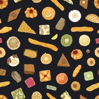 Elegant naadloos patroon met traditionele oosterse lekkernijen of zoet gebak op zwart