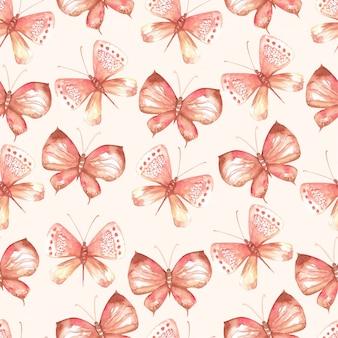 Elegant naadloos patroon van waterverfvlinders