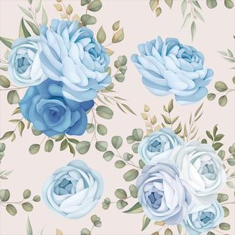 Elegant naadloos patroonontwerp blauwe bloemen