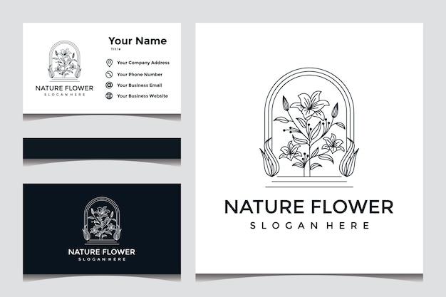 Elegant natuurbloemlogo-ontwerp met visitekaartjeontwerp