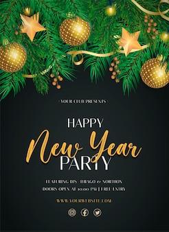Elegant nieuwjaarsfeest poster sjabloon