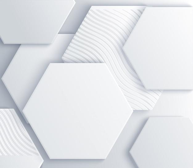 Elegant omslagontwerp. minimale compositie met geometrische vormen. 3d-afbeelding. witte zeshoeken getextureerd met golvende patronen en zilveren kralen.