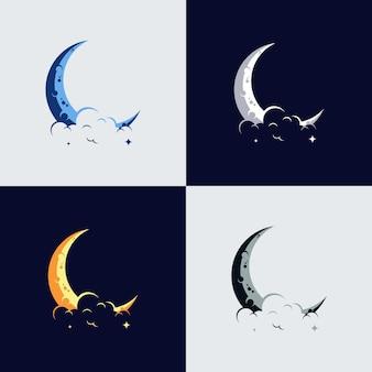 Elegant ontwerp van de wassende maan en sterlogo