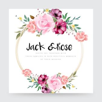 Elegant ontworpen mooi bloemenhuwelijkskaartontwerp