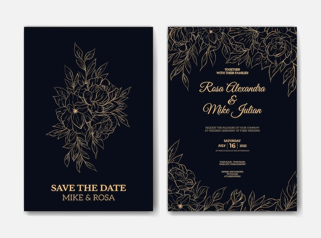 Elegant overzicht bloem bruiloft uitnodiging sjabloon