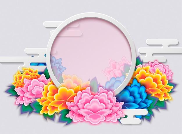 Elegant peony deco frame met ronde kopie ruimte