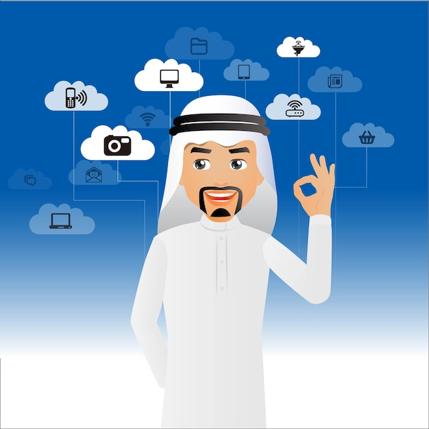 Elegant people arabbusinessman cloud computing