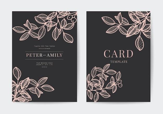 Elegant rose goud folie bruiloft uitnodiging kaartsjabloon