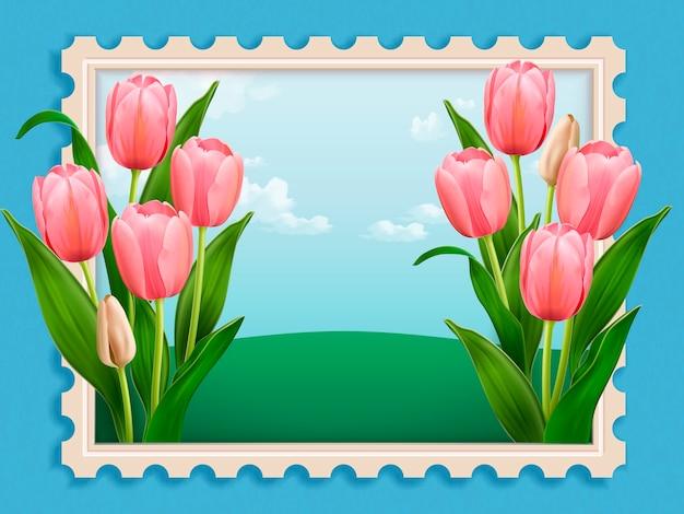 Elegant tulpenbed, elegant bloemenlandschapszegel in illustratie op blauwe achtergrond