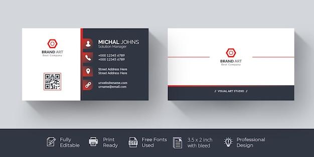 Elegant visitekaartje rood en wit visitekaartje