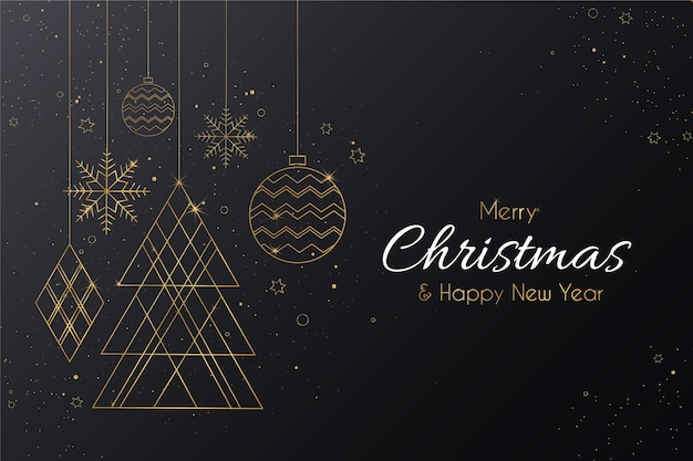Elegant vrolijk kerstfeest met gouden ornamenten