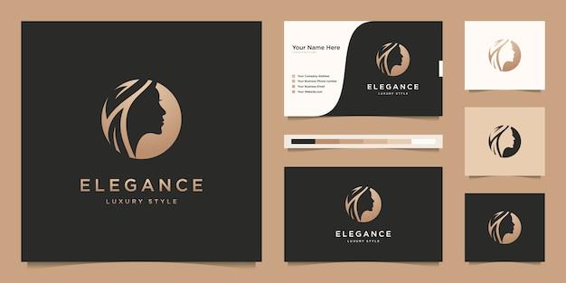 Elegant vrouwenkapsalon gouden gradiëntlogo ontwerp en visitekaartje