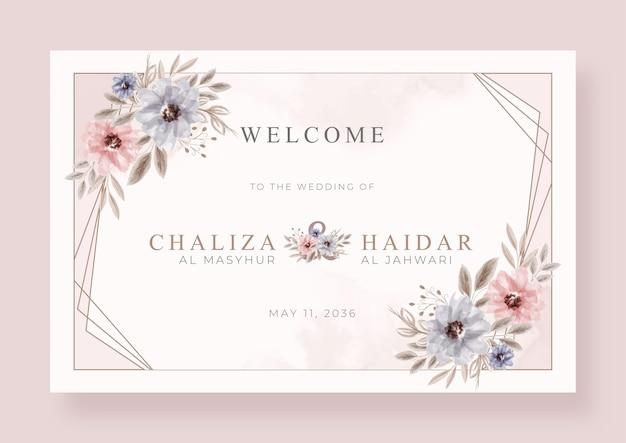 Elegant welkomstbord bruiloftsfeest sjabloon