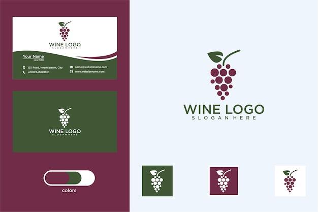 Elegant wijnlogo-ontwerp en visitekaartje